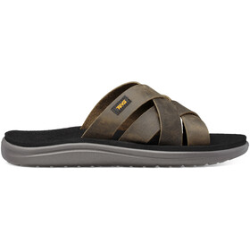 Teva Voya Slide Leather Sandals Men dark olive